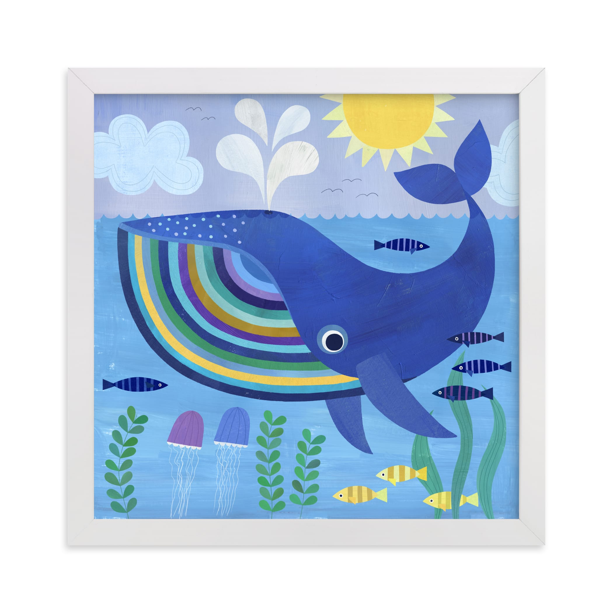 """""""Little Blue Whale"""" - Limited Edition Art Print by melanie mikecz in beautiful frame options and a variety of sizes."""