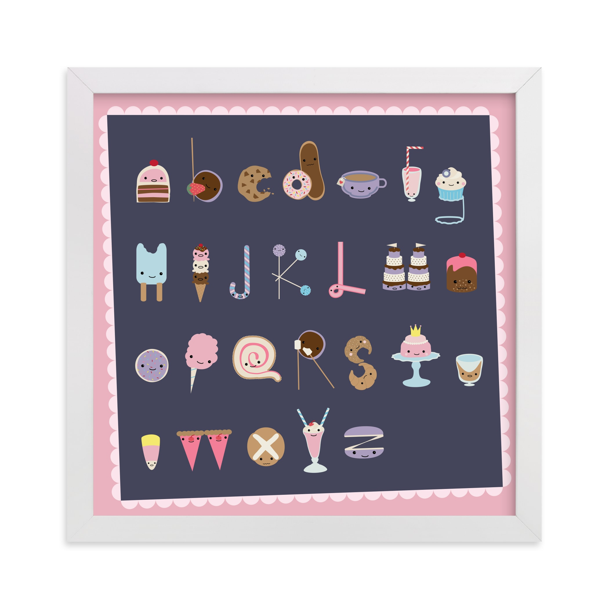 """""""All the Sweet Treats Alphabet """" - Art Print by Tanya Lee of Frooted Design in beautiful frame options and a variety of sizes."""